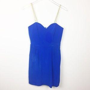 Naven   Heartthrob Cocktail Dress Vegas Blue Gold
